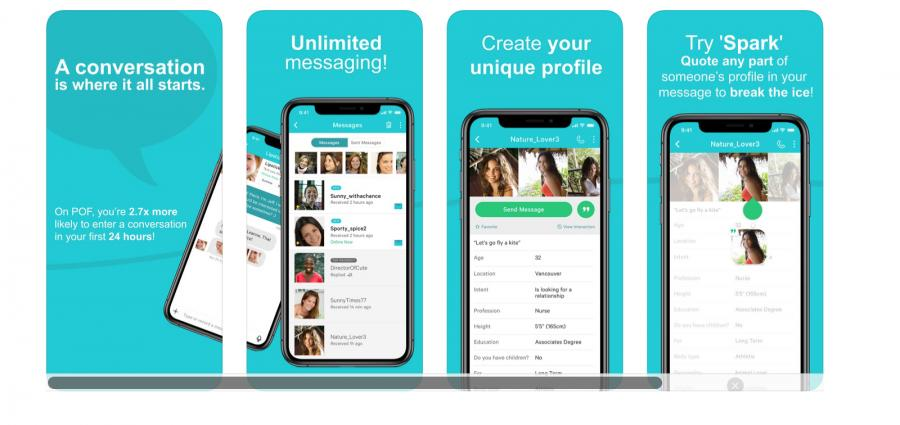 Mobile screenshots of the POF Dating app
