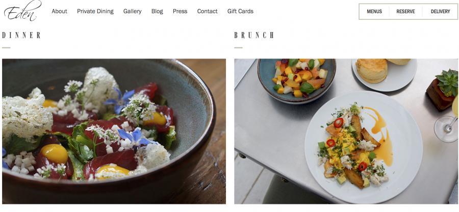 The Eden restaurant's website