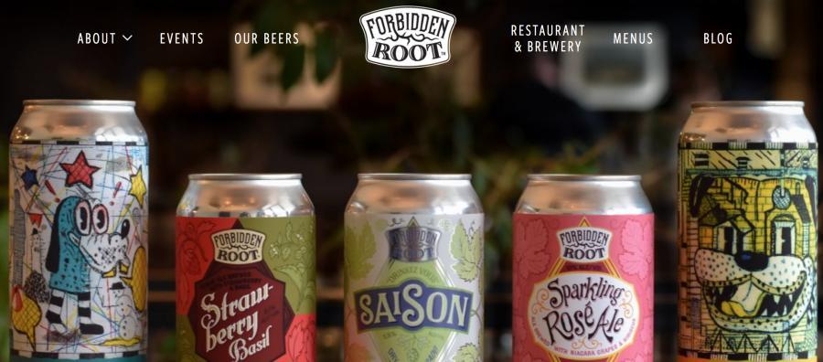 The website of Forbidden Root Restaurant & Brewery
