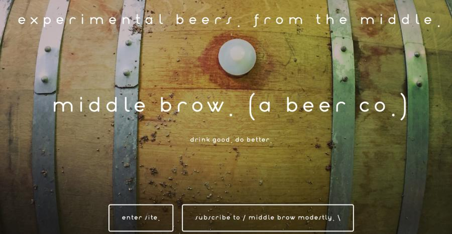 The website homepage of Middle Brow Beer Co.