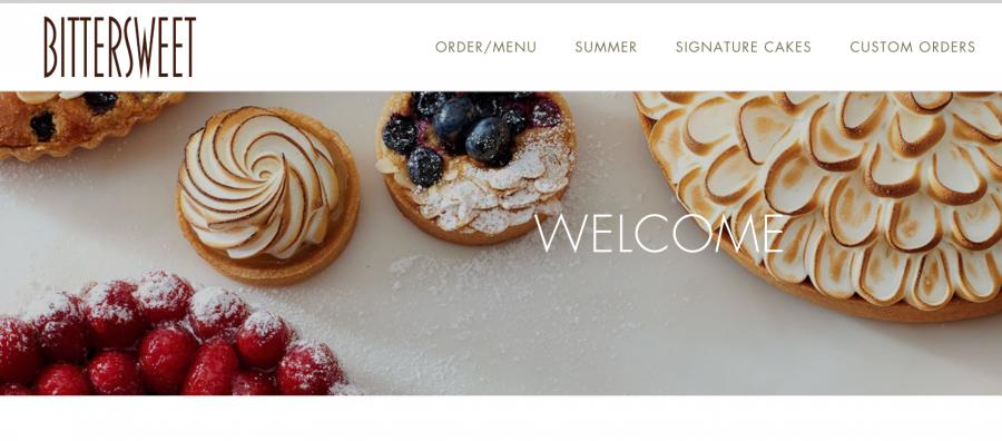 Screenshot of Bittersweet Pastry Shop's website