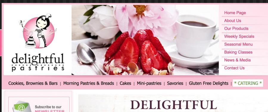 Screenshot of Delightful pastries' website