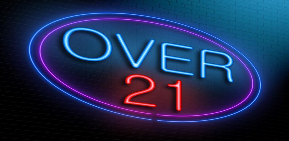 Over 21 casino sign