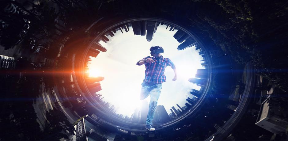 Man virtual reality goggles and running