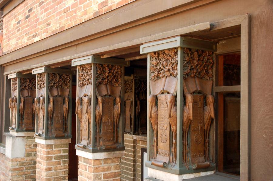 The pillars of the Frank Lloyd Wright site
