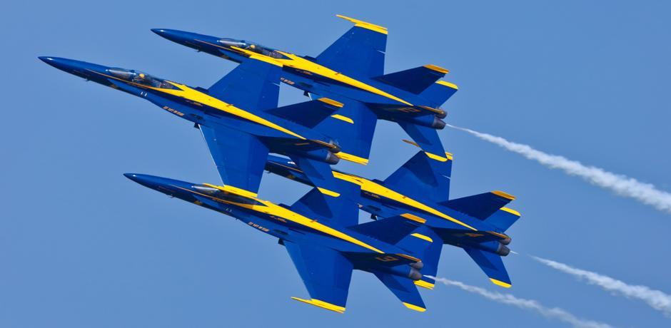 The Blue Angels over Chicago skyline at the Chicago Air & Water Show
