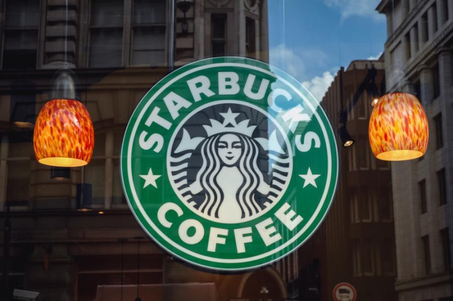 Starbuck logo on a Starbucks window