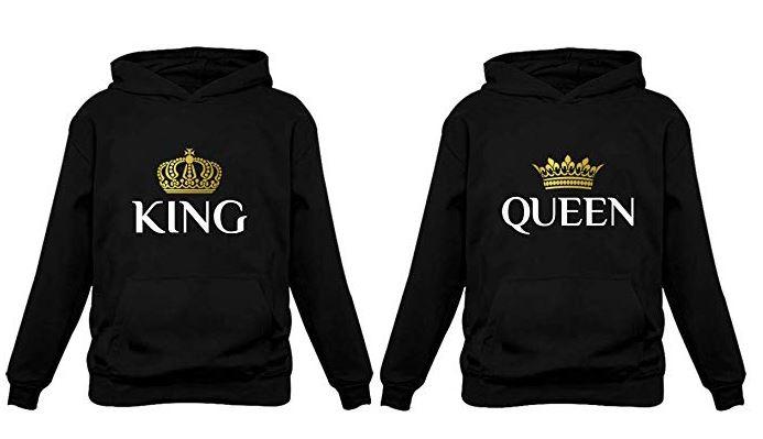 King & Queen Matching Couple Hoodie Set