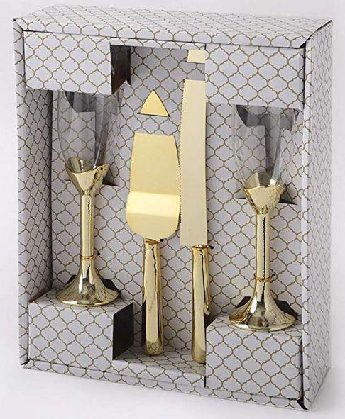 Elegant Toasting Glasses and Cake Set