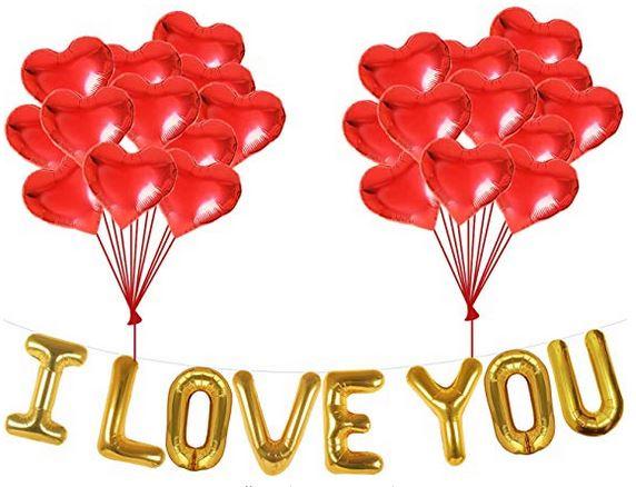 I Love You Balloons and Heart Balloons Kit