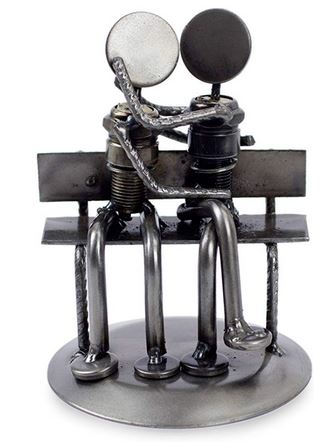 Recycled Auto Parts Park Bench Sweethearts Statuette