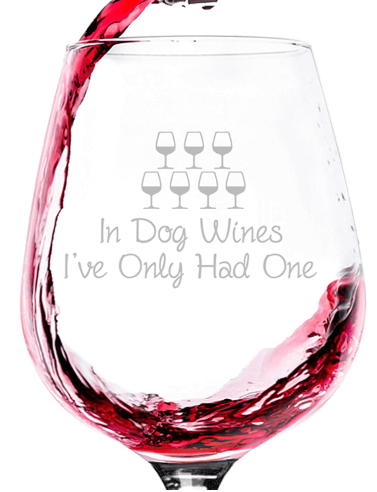 'In Dog Wines' Glass