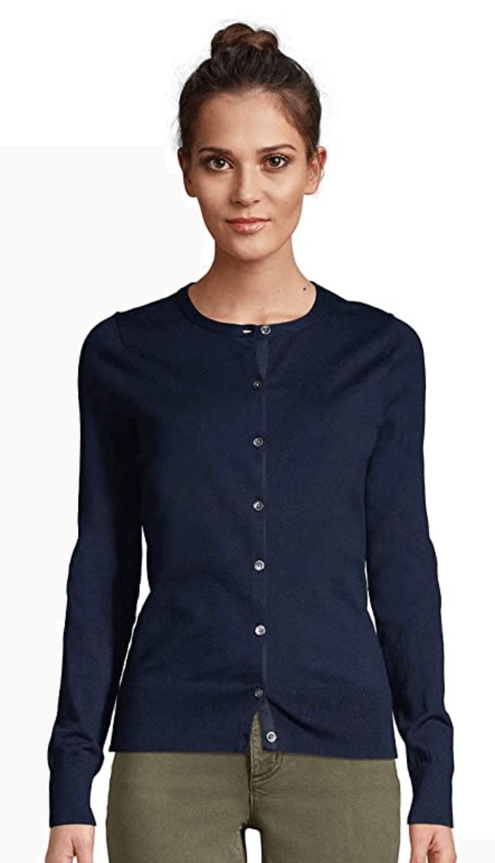 Lands' End Supima Cotton Cardigan Sweater