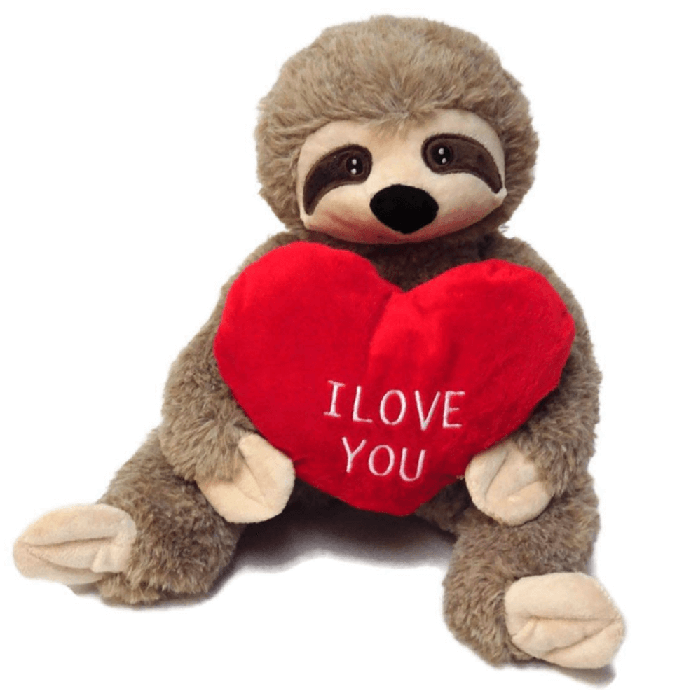 Valentine sloth plush