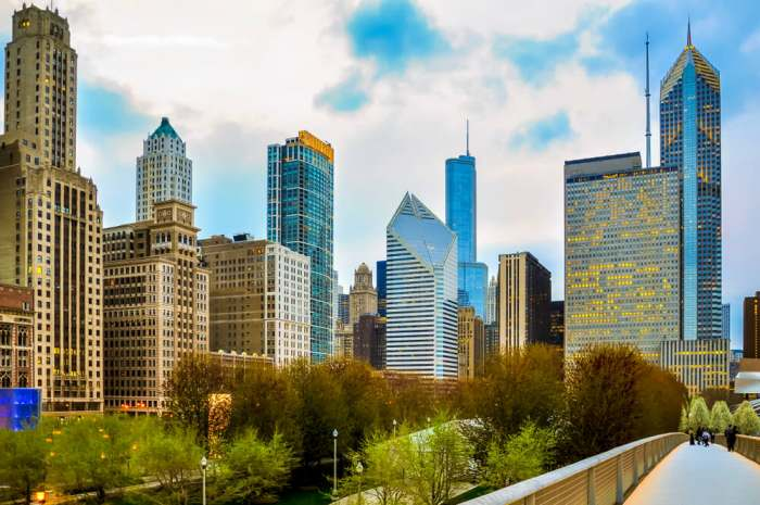 Chicago downtown skyline in the evening seen from pedestrian bridgeway