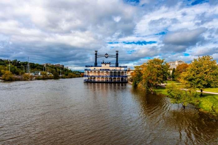 Elgin, Illinois - October 04, 2019 : Fox River view in Elgin Town of Illinois.